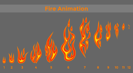 Flat fire sprites for animation frames icons. 向量圖像