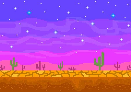 Pixel arte tramonto nel deserto.