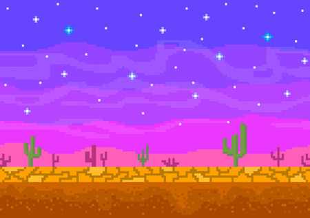 Pixel art sunset in the desert.