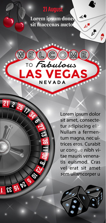 Las Vegas flyer in black, red and white colors. Stock Illustratie