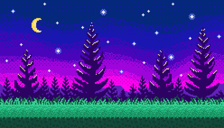 Pixel art forest at night seamless background for game landscape or application.