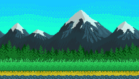 Pixel art mountains, grass and clouds seamless background for game lanscape or application.