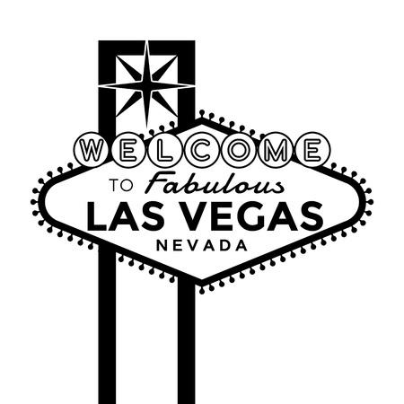 Vector Las Vegas Sign silhouet geïsoleerd op wit. Stock Illustratie