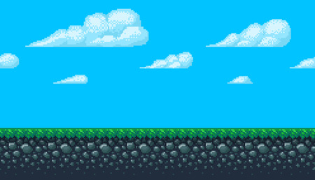 Pixel art seamless background. Location with sky, clouds, ground and grass. Landscape for game or application. Ilustração
