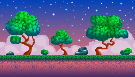 Pixel art seamless background. Location with forest at night. Landscape for game or application.