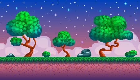 Pixel art sfondo senza soluzione di continuità. Posizione con foresta di notte. Paesaggio per gioco o applicazione.