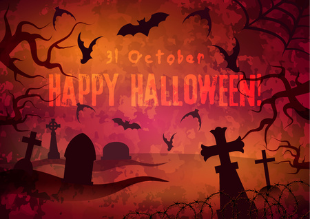 october 31: Bloody Halloween poster. Mystical cemetery, bats and tree branches on a red background. Illustration