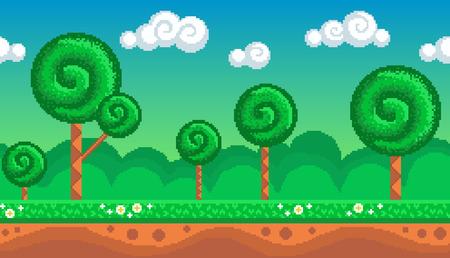 Nahtloser Hintergrund der Pixelkunst. Lage mit stilisiertem Wald. Landschaft für Spiel oder Anwendung. Standard-Bild - 89309788