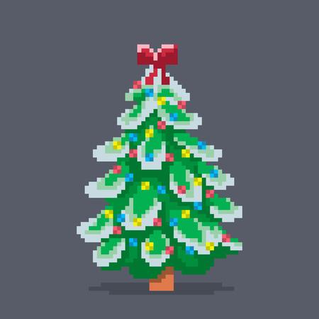 Pixel art decorated Christmas tree, vector illustration.