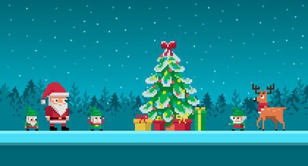 Pixel art scene with Santa Claus and gnomes around Christmas tree. Ilustração
