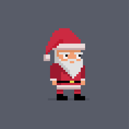 Pixel art cute Santa Claus, vector illustration. Illustration