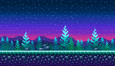 Pixel art seamless background. Location with snowy forest at night. Landscape for game or application. Stock Illustratie