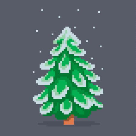 Sapin De Noël De Pixel Art Neigeux Illustration Vectorielle