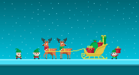 Pixel art cute gnomes load sledges with Christmas gifts.