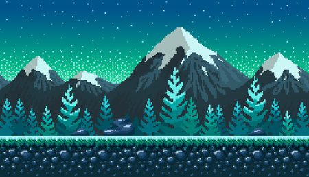 Pixel art seamless background. Location with snowy mountains at night. Landscape for game or application. Stock Illustratie