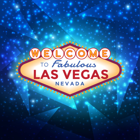 Las Vegas sign on blue sparkling background, vector illustration. Ilustração