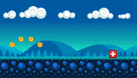 Pixel art seamless background. Landscape for game or application. Vectores
