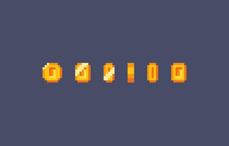 Pixel art gold coin animation. Vector illustration Illustration