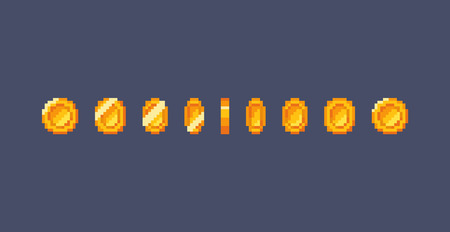 Pixel art gold coin animation. Vector illustration  イラスト・ベクター素材