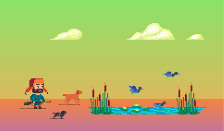 The pixel art story about hunter with dogs on duck hunting. Vector illustration.