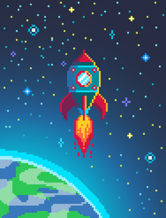 Pixel art rocket launch. Spaceship in cosmos poster in retro style. vector illustration.
