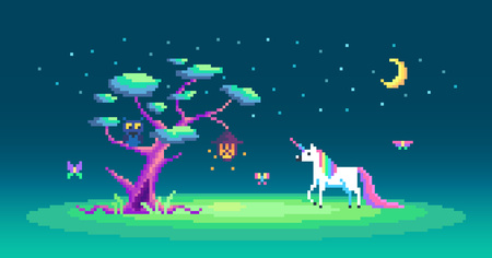 The story about one cute unicorn and magic tree Pixel art vector illustration.