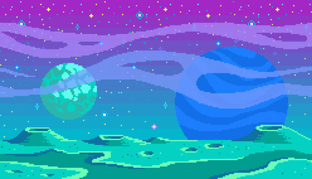 Pixel art game location. Cosmic area,someone planet surface. Seamless vector background Illustration