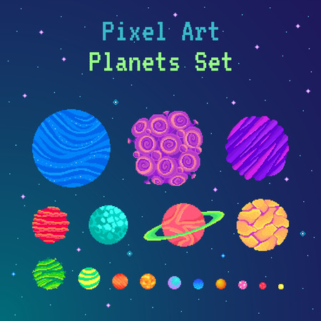 Pixel art planets set . Cartoon collection for design. Vector illustration.