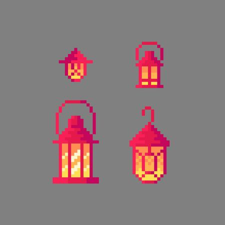 Pixel art vintage lantern set for your projects.