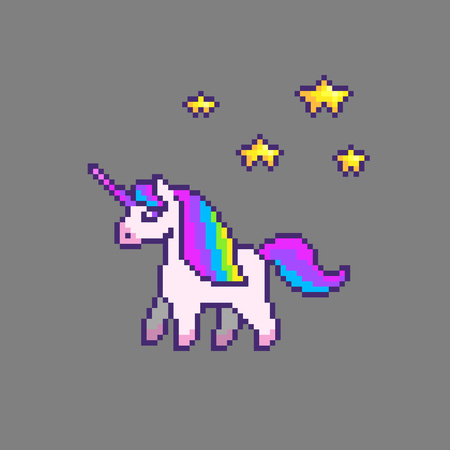 Pixel art cute unicorn with stars.