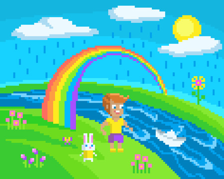Pixel scene with a boy who launched a paper boat on the water. Illustration