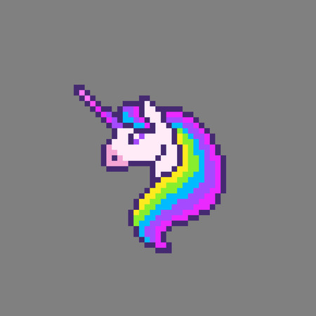 Pixel art cute unicorn head. Vector illustration.