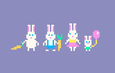 Pixel art rabbits family. Easter bunny. Vector illustration