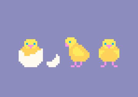 Grupo bonito da galinha dos desenhos animados da arte do pixel. Galinhas amarelas engraçadas em poses diferentes, ilustração do vetor. Ilustración de vector