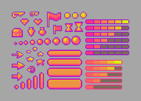 Pixel art bright icons. Vector assets for web or game design. Decorative GUI elements. Caramel color theme.