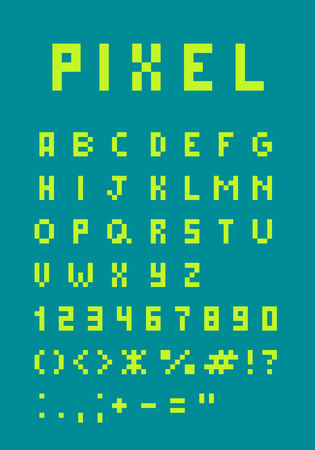 Pixel uppercase alphabet and figures retro pixel font.