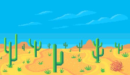Pixel art desert at day seamless background. Vector illustration.