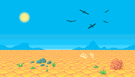 Pixel art desert seamless background vector illustration.