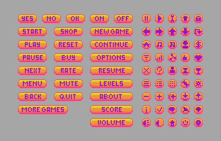 Pixel art bright buttons. Vector assets for web or game design. Decorative GUI elements. Caramel color theme.