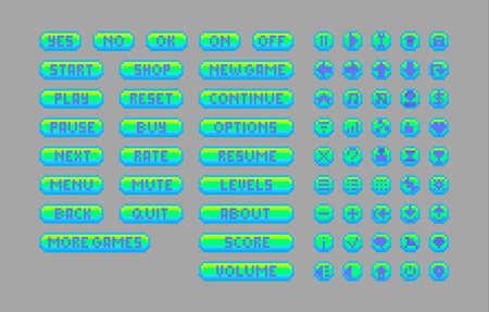 Pixel art bright buttons. Vector assets for web or game design. Decorative GUI elements. Aqua color theme.
