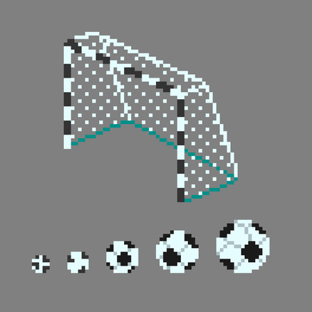 Pixel Art Soccer Ball Icons In Different Sizes And Football