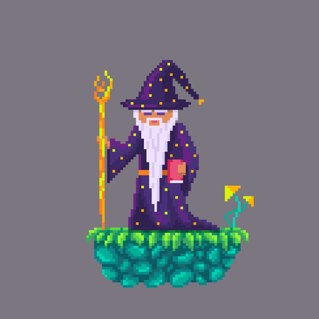 Pixel art old wizard with a stick.