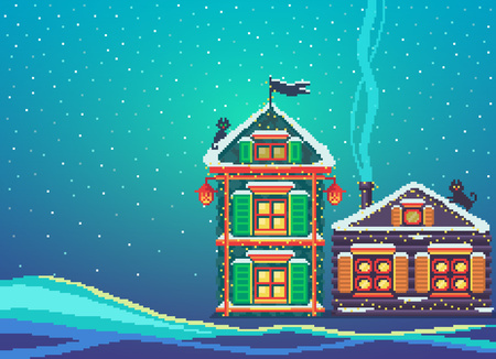 Pixel art scenery with two snowy christmas houses. Happy new year banner. Vector illustration.