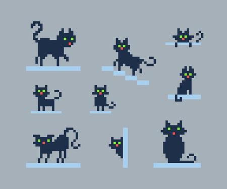 Set von Pixelkunst-Silhouetten von Katzen mit verschiedenen Aktionen und Emotionen. Vektorgrafik