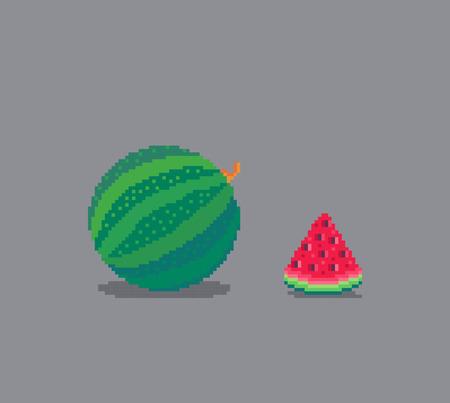 Pixel art style watermelon illustration isolated on gray background.