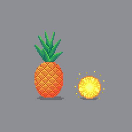 Pixel art style pineapple illustration isolated on gray background.