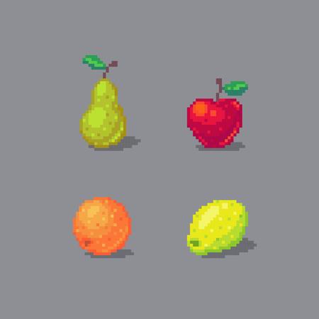 Pixel art fruits set isolated on gray background.