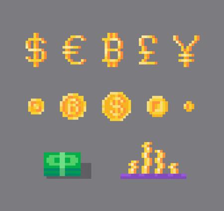 Pixel art set of currency symbols and coins. Иллюстрация
