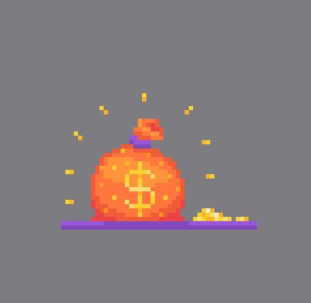 Pixel art big bag of money. Vector illustration.