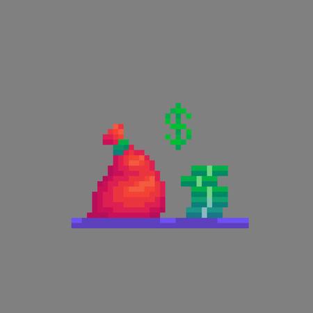 Pixel art red bag of money. Vector illustration. Иллюстрация